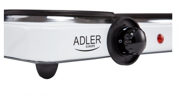 Plita electrica ADLER AD 6504, 2 arzatoare, Control mecanic, Putere 2250 W, alb [2]
