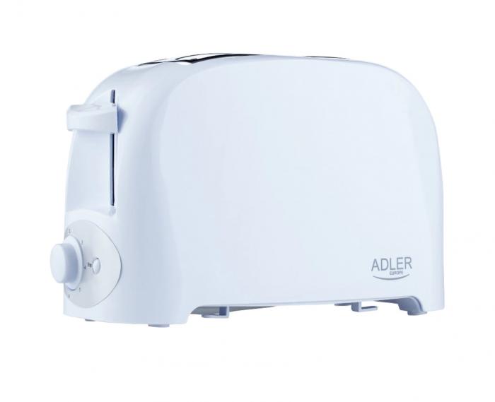 Prajitor de paine ADLER AD 3201, 750 W, 2 felii, Grad de rumenire variabil, Alb [2]