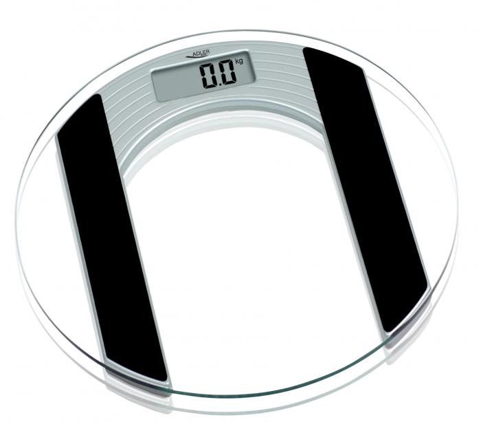 AD8122 Cantar electronic de persoane Adler, 150 kg, platforma sticla, transparent [0]