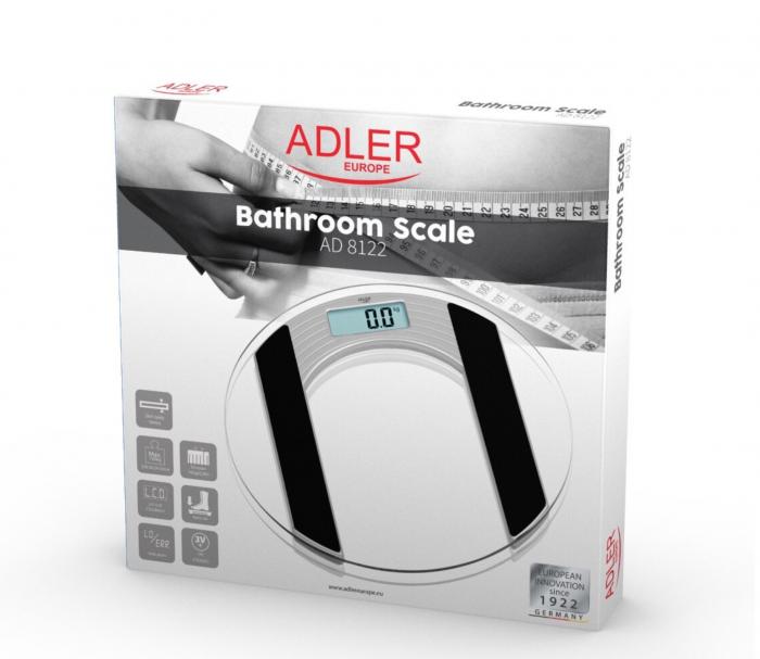 AD8122 Cantar electronic de persoane Adler, 150 kg, platforma sticla, transparent [1]