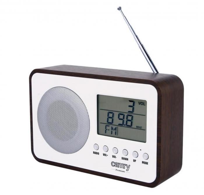 CR1153, Radio digital Camry, ceas, termometru, alarma, lcd, calendar, alb [0]