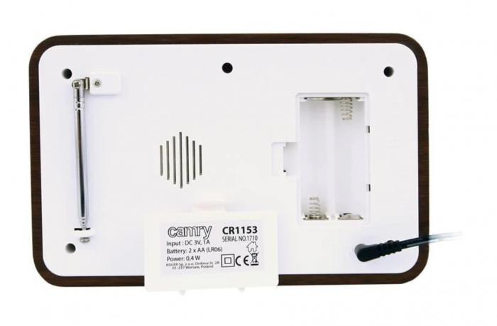 CR1153, Radio digital Camry, ceas, termometru, alarma, lcd, calendar, alb [1]