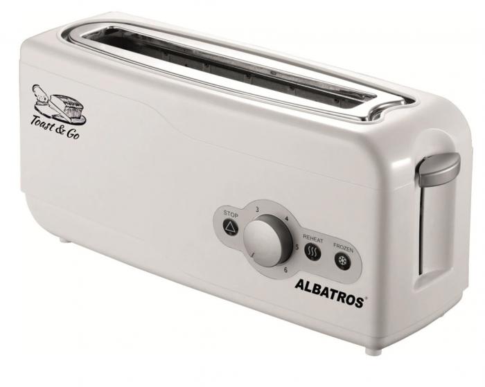 Prajitor paine Albatros Express, 2 felii, Design lung si ingust, 750 W, Alb [0]