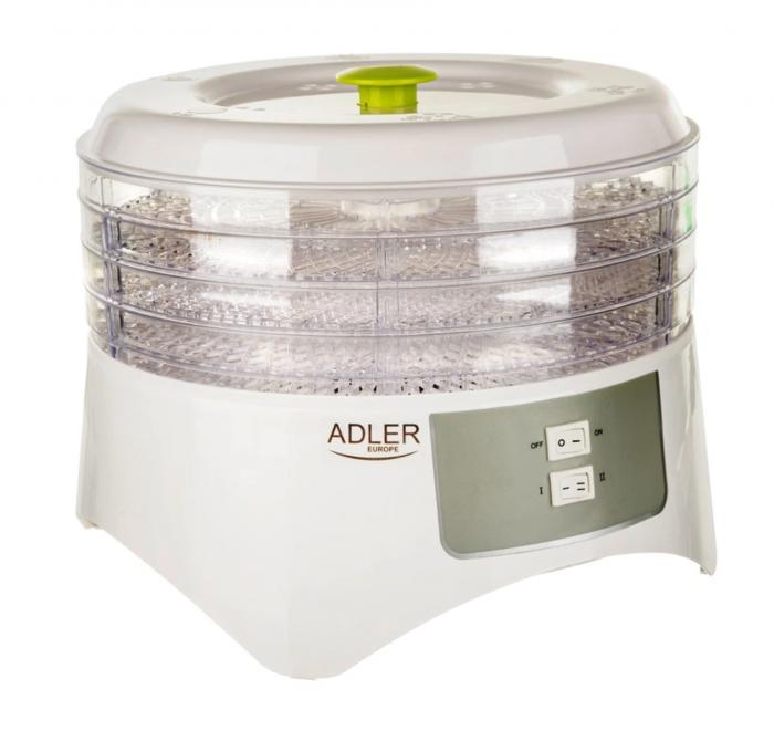 Deshidrator de alimente ADLER AD 6654, 400 W, 4 Tavi, 2 Trepte temperatura, Alb [0]