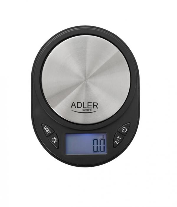 Mini Cantar Electronic pentru Bijuterii Adler, Functie Tara, Afisaj LCD Iluminat, Pana la 750g, Culoare Negru/Argintiu [0]