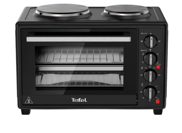 Cuptor electric Tefal Optimo OF463830, 32 L, 2 plite, 5 moduri de gatire, termostat ajustabil, tava copt, negru [0]