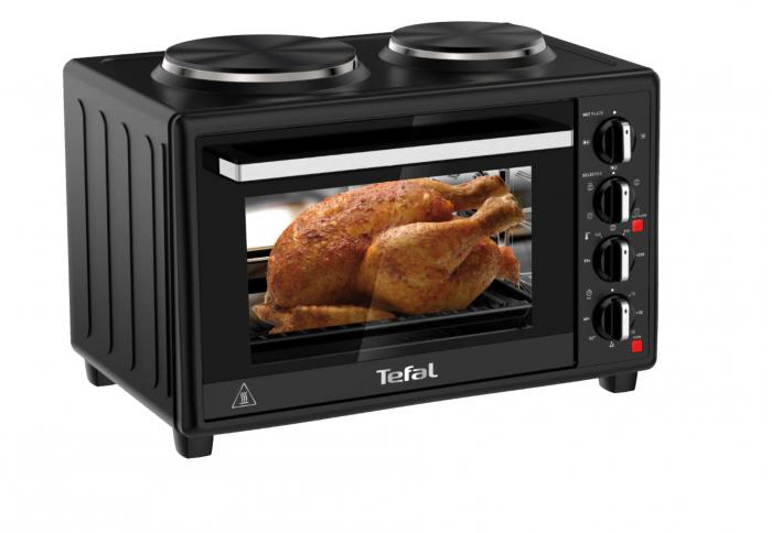 Cuptor electric Tefal Optimo OF463830, 32 L, 2 plite, 5 moduri de gatire, termostat ajustabil, tava copt, negru [1]