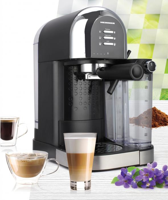 Espressor manual Heinner Coffee Dreamer HEM-DL1470BK, 1230-1470W, 20bar, , dispozitiv spumare lapte, rezervor detasabil lapte 500ml, rezervor apa 1.7L, 6 tipuri de bauturi, Negru [2]