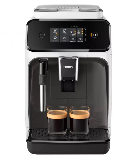 Espressor automat Philips EP1223/00 Seria 1200, 1500W, 15 bar, sistem clasic de spumare, 2 bauturi, afisaj tactil, optiune 2 cesti, 12 setari macinare, rasnita ceramica, Alb [0]