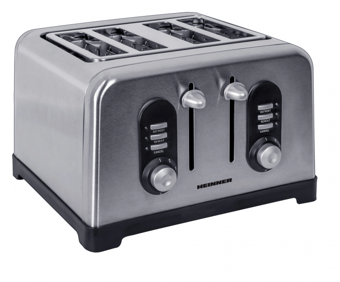Prajitor de paine Heinner HTP-BK1400XMC, 1400W, 4 felii, 6 nivele de rumenire, Inox [0]