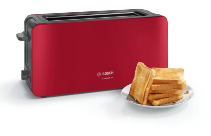 Prajitor de paine Bosch TAT6A004, long slot, 1090W, 2 felii de paine, Rosu [1]