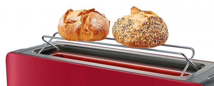 Prajitor de paine Bosch TAT6A004, long slot, 1090W, 2 felii de paine, Rosu [2]