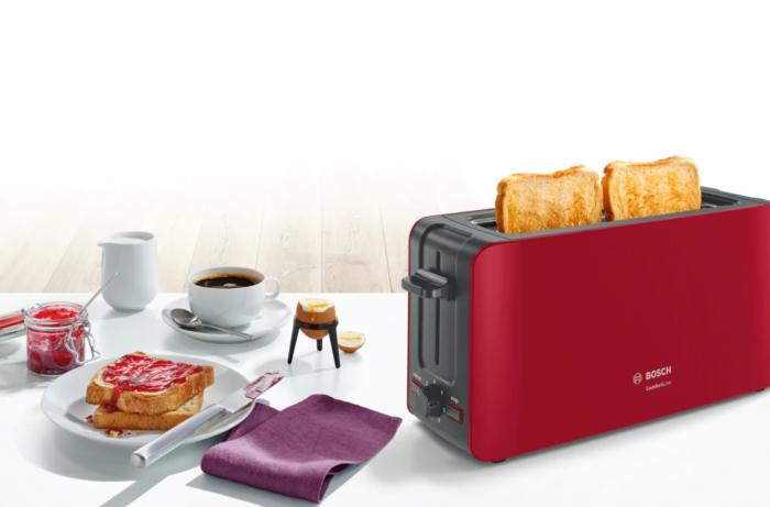 Prajitor de paine Bosch TAT6A004, long slot, 1090W, 2 felii de paine, Rosu [8]