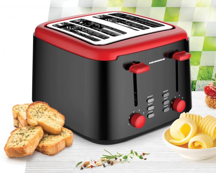 Prajitor de paine Heinner Wassay 1450 HTP-1450BKR, 1450W, capacitate 4 felii, 7 niveluri de rumenire, negru/Rosu [1]