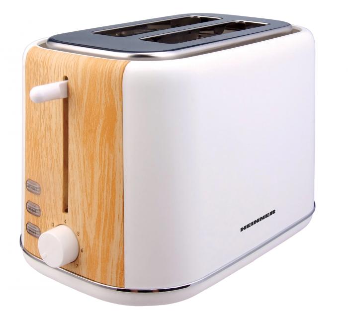 Prajitor de paine Heinner HTP-WH800BB, 800 W, 2 felii, dezghetare, 7 niveluri de rumenire, Alb [0]