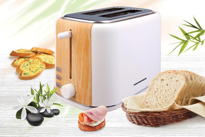 Prajitor de paine Heinner HTP-WH800BB, 800 W, 2 felii, dezghetare, 7 niveluri de rumenire, Alb [2]
