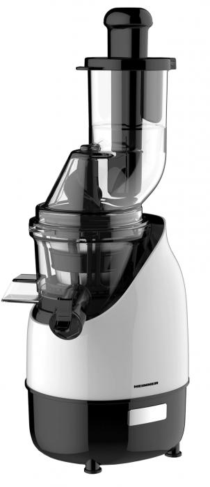 Storcator de fructe cu melc Heinner HSJ-200WH, 200 W, 75 Rpm, Tub larg 80 mm, Recipiente fara BPA, Functie reverse, Alb/Negru [0]