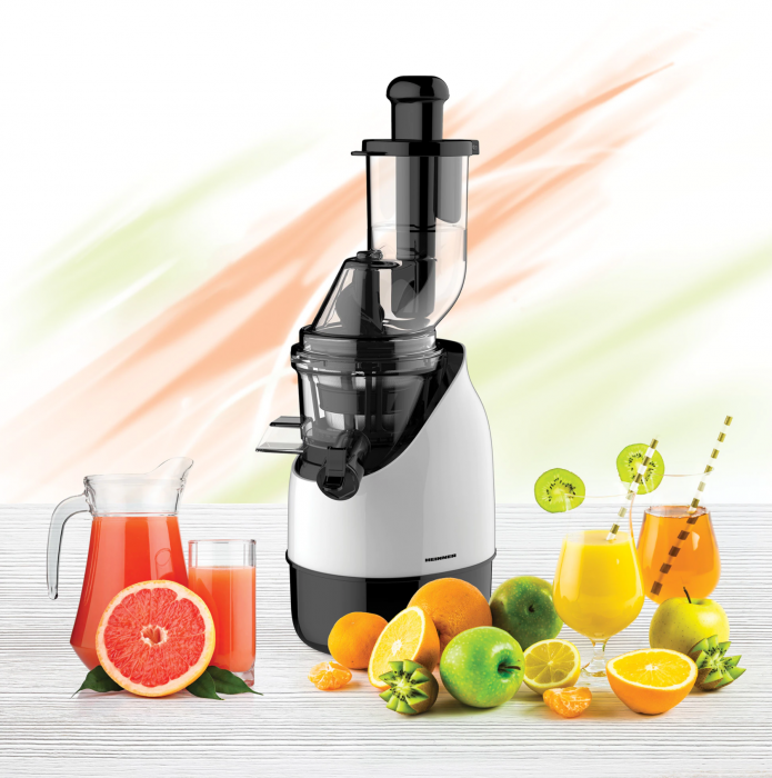 Storcator de fructe cu melc Heinner HSJ-200WH, 200 W, 75 Rpm, Tub larg 80 mm, Recipiente fara BPA, Functie reverse, Alb/Negru [1]