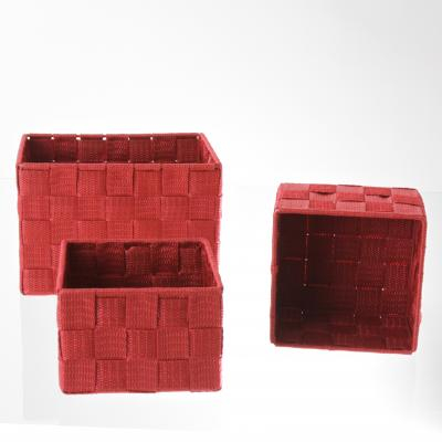 Set cutii rectangulare 3 buc , rosu , polyester 0