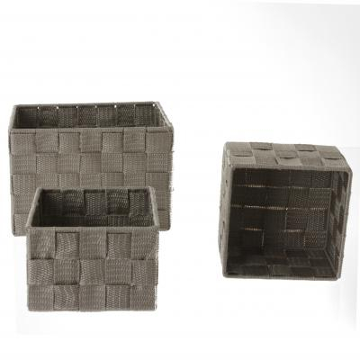 Set cutii rectangulare 3 buc , taupe , polyester [0]
