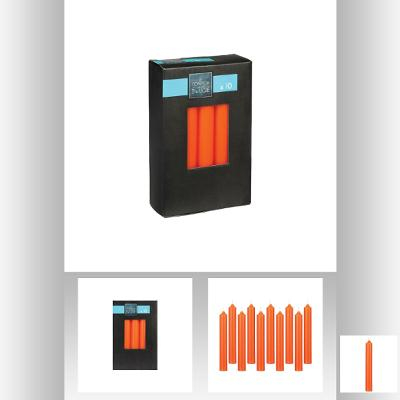 Set lumanare portocaliu x 10 buc 16x2.1 cm 0