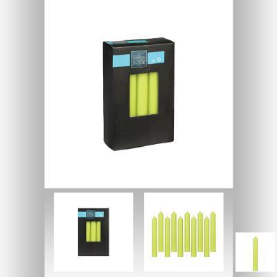 Set lumanare verde x 10 buc 16x2.1 cm - NOU 0