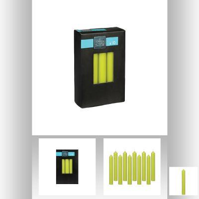 Set lumanare verde X10 buc , 16x2.1 cm [0]