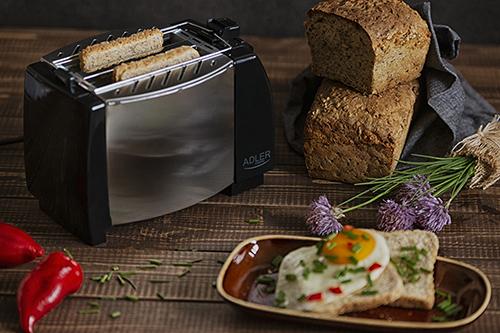 Toaster Adler AD35, 2 felii, 750W, tavita firimituri, buton Stop, negru 6