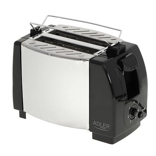 Toaster Adler AD35, 2 felii, 750W, tavita firimituri, buton Stop, negru 0
