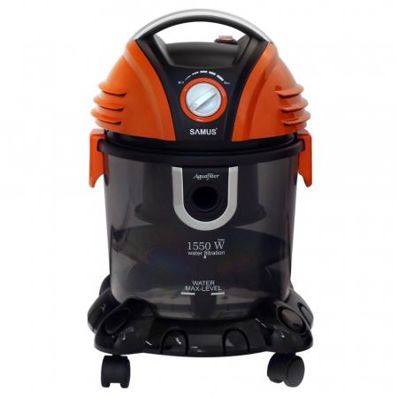Aspirator Samus Aquafilter Orange, cu filtrare prin apa, fara sac, 15 l, 1550 W, filtru HEPA, aspirare umeda si uscata, functie suflare aer, negru cu portocaliu [2]