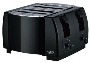 AD3211 Toaster Adler, 4 felii, 1300W, tavita firimituri, buton Stop, negru0