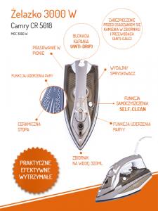 CR5018 Fier de Calcat cu Aburi Camry, Putere 3000W, Calcare Verticala sau Orizontala, Talpa Ceramica, Functie Auto-Curatare si Anti-Picurare, Filtru Anticalcar5