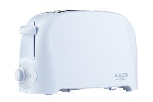 Prajitor de paine ADLER AD 3201, 750 W, 2 felii, Grad de rumenire variabil, Alb0