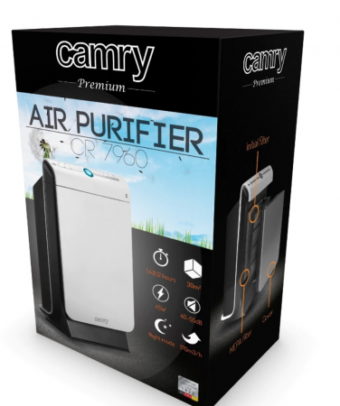 CR7960 Purificator de aer Camry, 45 W Filtru HEPA, Filtru carbon,Functie ionizre ,Alb/Negru [1]