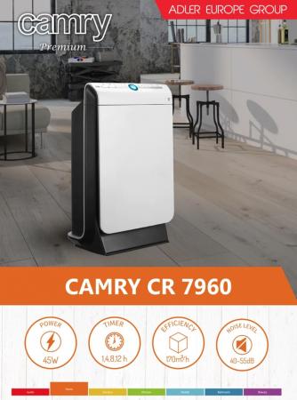 CR7960 Purificator de aer Camry, 45 W Filtru HEPA, Filtru carbon,Functie ionizre ,Alb/Negru [2]