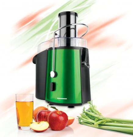 Storcator de fructe si legume Heinner XF-1000GRSP, 1000 W, Recipient suc 1 l, Recipient pulpa 2 l, 2 Viteze, Tub de alimentare 75 mm, Verde Metalic [1]
