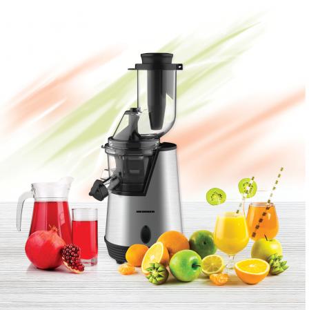 Storcator de fructe cu melc Heinner HSJ-200X, 200 W, 75 Rpm, Tub larg 80 mm, Recipiente fara BPA, Functie reverse, Inox [1]