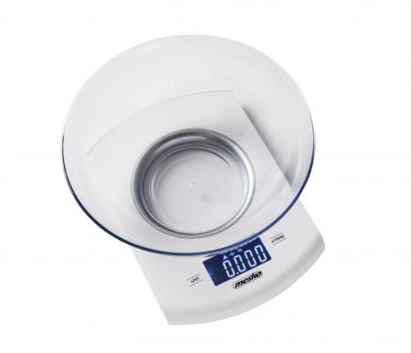 Cantar Electronic de Bucatarie cu Bol din sticla MESKO , Afisaj Digital iluminat, Capacitate 5kg, Functie Tara, culoare alb [0]