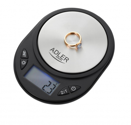 Mini Cantar Electronic pentru Bijuterii Adler, Functie Tara, Afisaj LCD Iluminat, Pana la 750g, Culoare Negru/Argintiu [1]