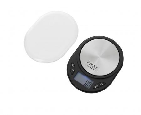 Mini Cantar Electronic pentru Bijuterii Adler, Functie Tara, Afisaj LCD Iluminat, Pana la 750g, Culoare Negru/Argintiu [2]
