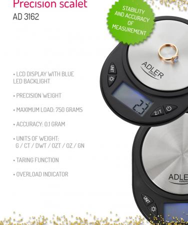 Mini Cantar Electronic pentru Bijuterii Adler, Functie Tara, Afisaj LCD Iluminat, Pana la 750g, Culoare Negru/Argintiu [4]