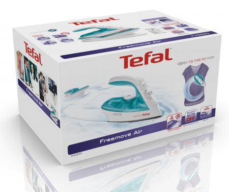 Fier de calcat Tefal Freemove Air FV6520E0, 2400 W, Rezervor apa 0.25 l, Sistem anticalcar incorporat, Reglaj manual, Alb/Turcoaz [3]