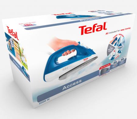 Fier de calcat Tefal Access FV1511E3, 2000W, 20gr/min, 90 gr/min, 250 ml, Alb/Albastru [2]