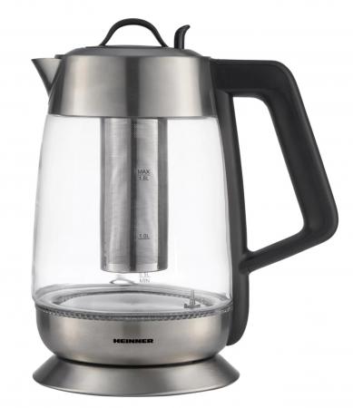 Fierbator cu filtru de ceai Heinner HEK-TF18GX, 1.8 L, 5 setari temperatura, iluminare colorata, control touch, element inox, oprire automata, Inox/Sticla [0]
