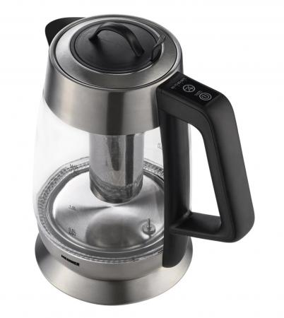 Fierbator cu filtru de ceai Heinner HEK-TF18GX, 1.8 L, 5 setari temperatura, iluminare colorata, control touch, element inox, oprire automata, Inox/Sticla [1]
