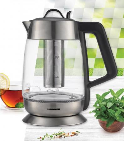 Fierbator cu filtru de ceai Heinner HEK-TF18GX, 1.8 L, 5 setari temperatura, iluminare colorata, control touch, element inox, oprire automata, Inox/Sticla [2]