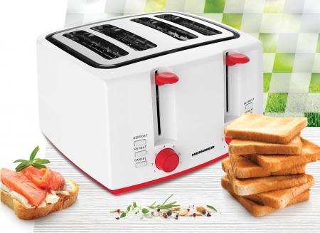 Prajitor de paine Heinner Panfette 1300 HTP-1300WHR, 1100W, capacitate 4 felii, 7 niveluri de rumenire,Alb/Rosu [1]