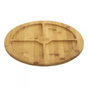 Tava rotunda din bambus, 4 compatrimente, D35.5 cm JJA 1542350