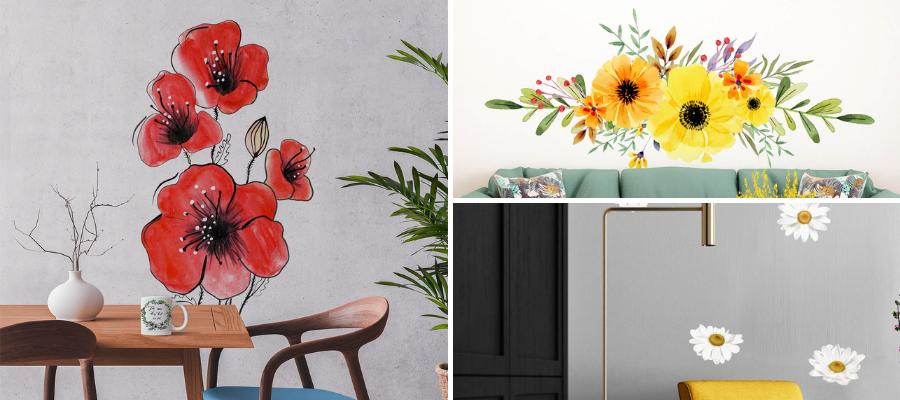 Stickere pentru perete cu flori și iz de vară