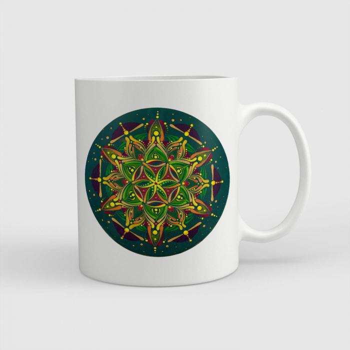 """Cană ceramică - Mandala """"Inimă sacră"""" #02 [0]"""